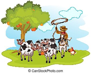 Group of domestic animals with cowboy in a farm isolated