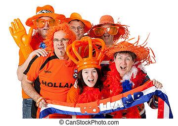 Group of Dutch soccer fans - Group of Dutch soccer fans over...