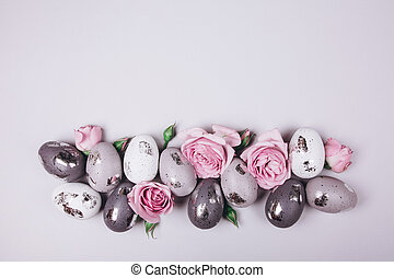 Group of Easter eggs and flowers
