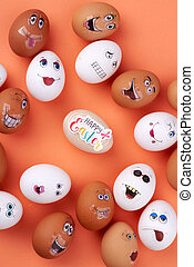 Group of eggs with funny faces.