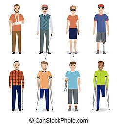 Group of eight different kind disability people. Invalid people concept.