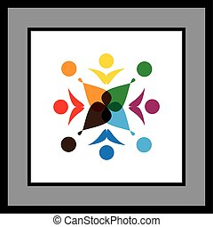 Group of eight people in circle logo icon vector graphic.