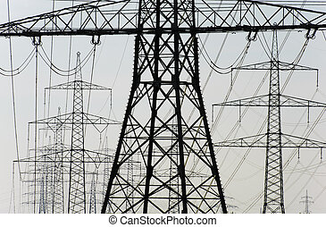 group of electric power poles - group of many electric power...