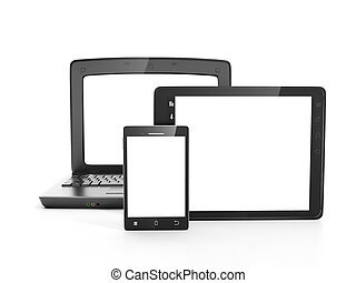 Group of electronic equipment, tablet PC, laptop, mobile phone on a white background