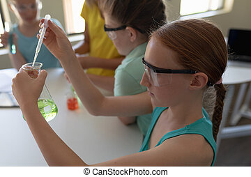 Group of elementary school kids in chemistry class