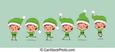 group of elf santa helpers characters