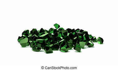 group of emeralds falling on white background 3D rendering