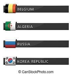 Group of empty score charts Belgium,Algeria,Russia,Korea Republic