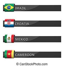 Group of empty score charts Brazil,Croatia,Mexico,Cameroon