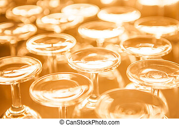 Group of empty wine glass upside down in row sepia tone