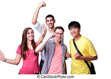 group of excited students