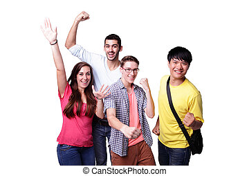 group of excited students - Friend group of happy excited...