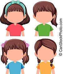 Group of faceless girls