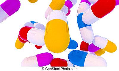 Group of falling capsules