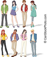 Teenagers. - Group of fashion cartoon young people. ...