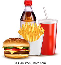 Group of fast food products. illustration.