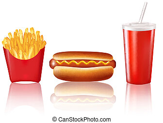 Group of fast food products. Vector.