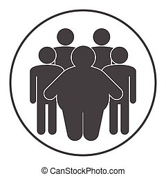 Group of fat and skinny people. Obesity concept.