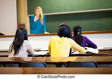 college students in classroom with teacher