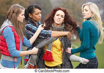 Group Of Female Teenagers Bullying Girl