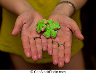 group of festive cookies with mastic in clover shape symbol of the holiday day saint Patrick on open palms