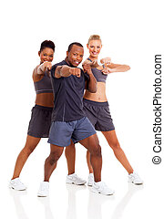 group of fit young adult working out