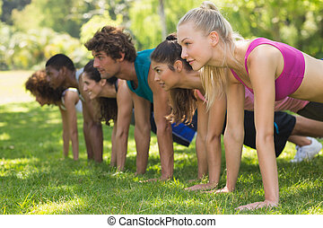 Group of fitness people doing push ups in park - Side view ...