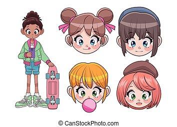 group of five beautiful interracial teenagers girls anime heads characters