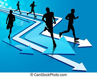 Group of five man running on arrow tracks