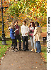 Group Of Five Teenage Friends Chatting In Autumn Park