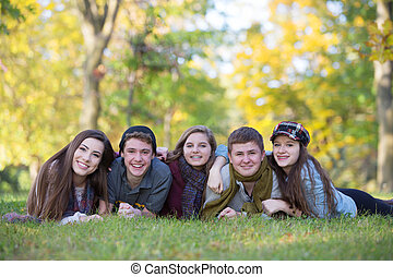 Group of Five Teens Outdoors