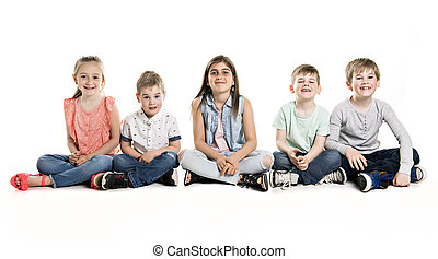 Group Of five Young Children In Studio
