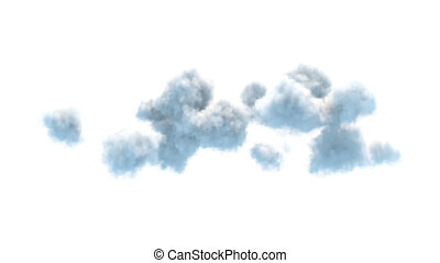 group of fluffy clouds isolated on white background 3d illustration