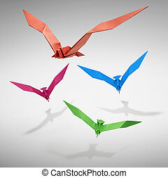Group of flying birds in Origami