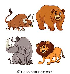 group of four animals comic cartoon characters