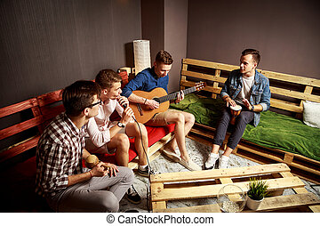 Group of Four Friends Hanging Out in Studio