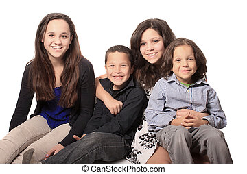 Group of Four Happy Children
