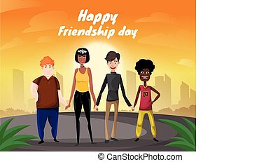 Group of four happy diverse friends walking with city and sunrise background. Happy friendship day