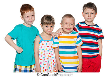 Group of four joyful kids