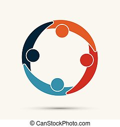 Group of four people in a circle. Teamwork group