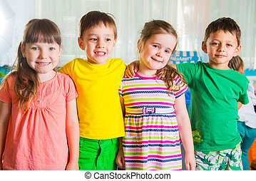 Group of four preschoolers
