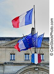 French flags in front of building