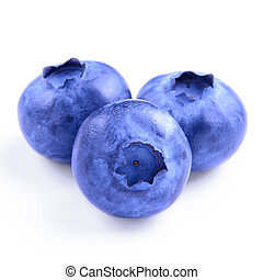 Group of Fresh Blueberries Isolated on the White Background
