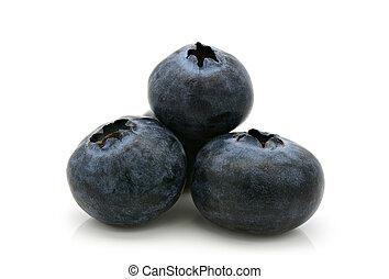Group of fresh blueberries on white