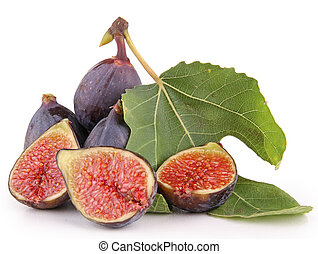 group of fresh figs on white