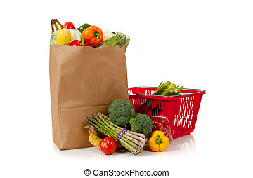 Group of fresh produce in a brown grocery sack