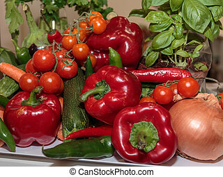 Group of Fresh Red and Green Assorted Vegetables