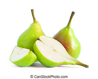 Group of Fresh Ripe Pears Isolated on the White Background