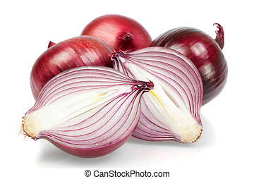 Group of fresh vegetables, onion, in the cut. On a white background.