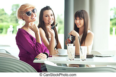 Group of friend enjoying coffee bre